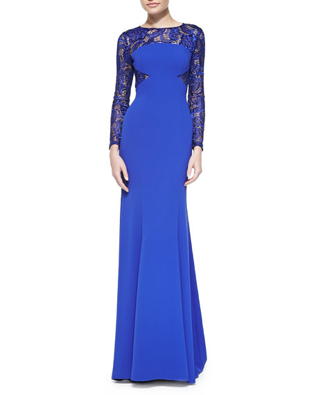 ML Monique Lhuillier Long-Sleeve Lace Illusion Gown