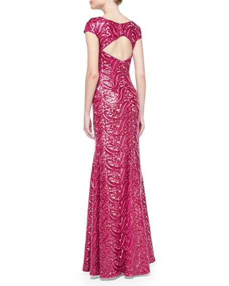Short-Sleeve Open-Back Sequined Gown