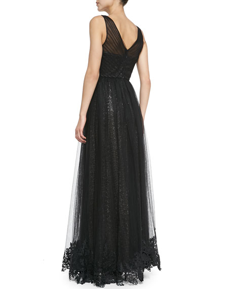 Sleeveless Sequined Gown with Tulle Overlay