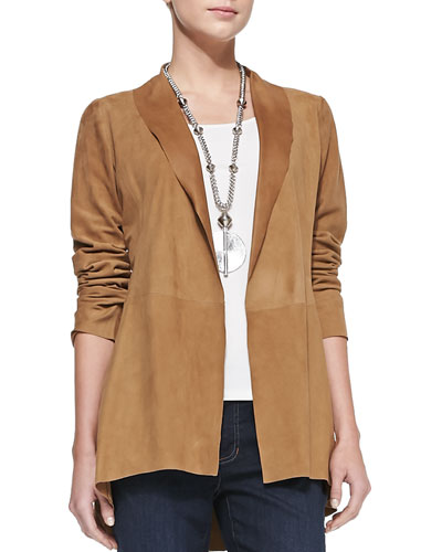 Eileen Fisher Soft Suede Long Jacket