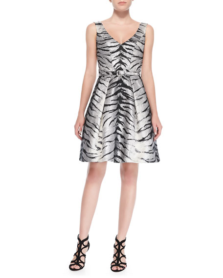Belted Animal-Print Cocktail Dress