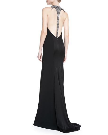 Halter Beaded-Back Mermaid Gown