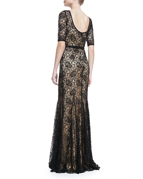 Elbow-Sleeve Lace-Overlay Mermaid Gown