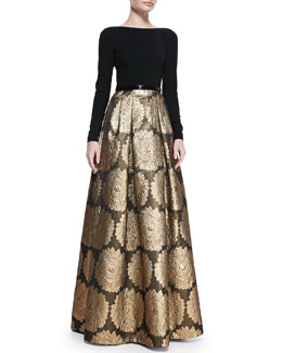 Theia Long-Sleeve Jacquard Skirt Gown