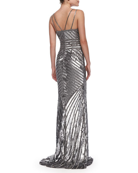 Sleeveless Beaded-Pattern Gown