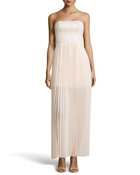 Strapless Sequin and Plisse Gown