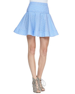 Milly Gorton Striped Flare Skirt