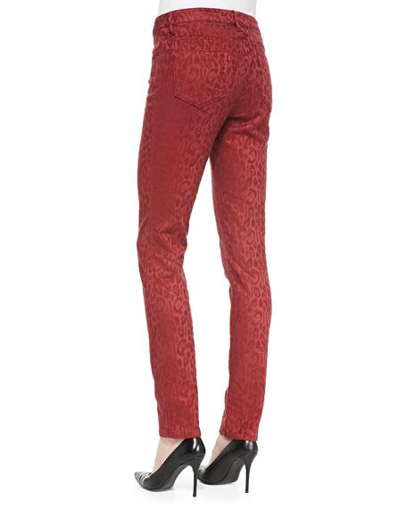 Mid-Rise Leopard-Print Skinny Jeans