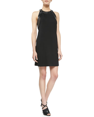 Alice & Trixie Ruth Crepe Leather-Trim Dress