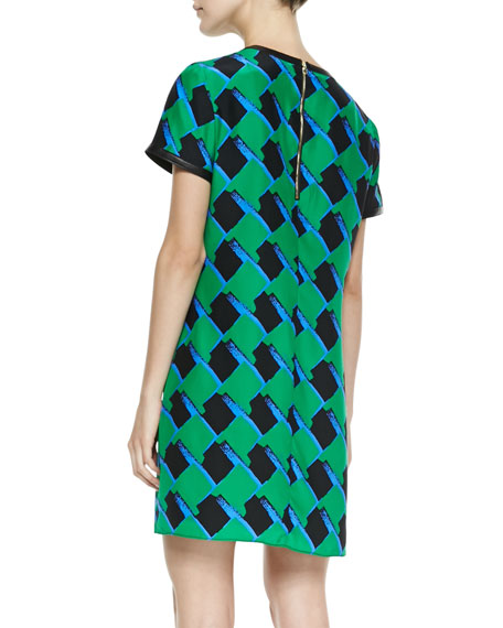 Finn Silk Printed Leather-Trim Dress