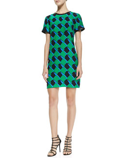 Alice & Trixie Finn Silk Printed Leather-Trim Dress