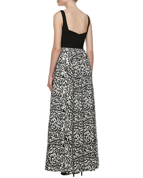 Sleeveless Sweetheart Printed Gown
