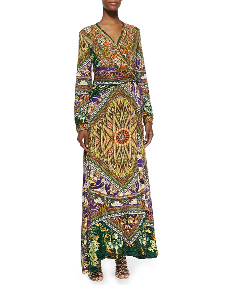 Jersey Mandala-Print Maxi Wrap Dress