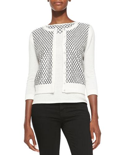Magaschoni 3/4-Sleeve Embellished Cashmere Cardigan