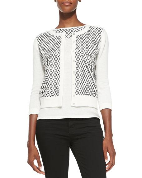 3/4-Sleeve Embellished Cashmere Cardigan