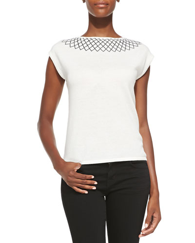 Magaschoni Embellished Collar Cashmere Top