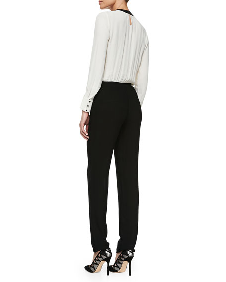 Two-Tone Crepe Jumpsuit
