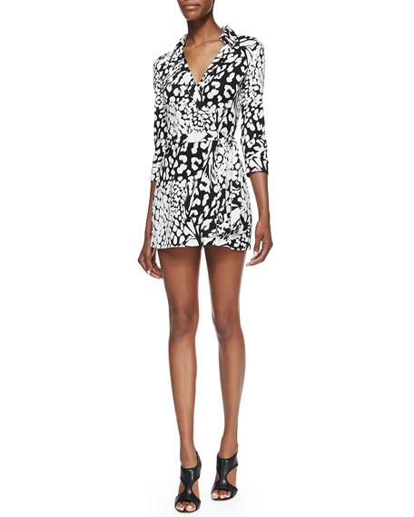 Celeste Leopard-Print Wraparound Short Jumpsuit