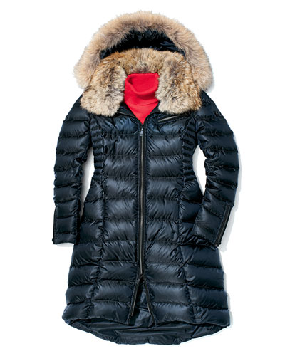 Dawn Levy Bee Puffer Coat with Fur Collar