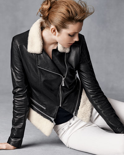 Dawn Levy Leather Jacket w/Faux-Shearling