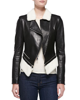 Leather Jacket w/Faux-Shearling