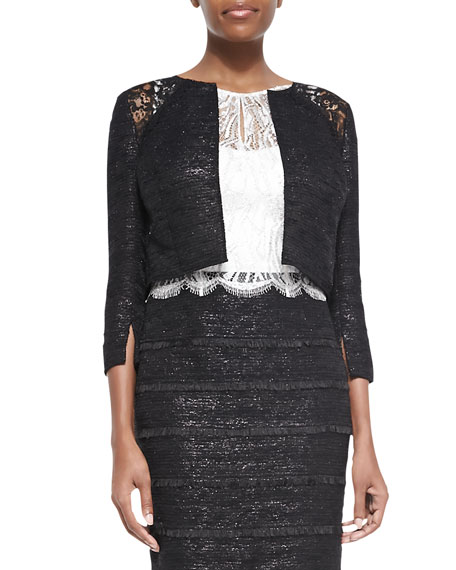 Kay Unger New York 3/4-Sleeve Cropped Lace-Shoulder Jacket