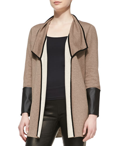 Reversible Open-Face Jacket with Faux-Leather Trim