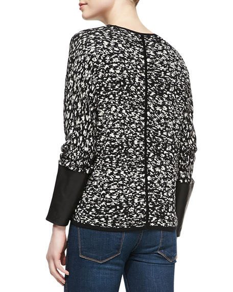 Jacquard Sweater with Leather Cuffs