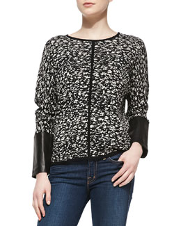 Belford Jacquard Sweater with Leather Cuffs