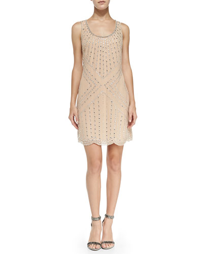 Phoebe by Kay Unger Beaded Pattern Shift Cocktail Dress