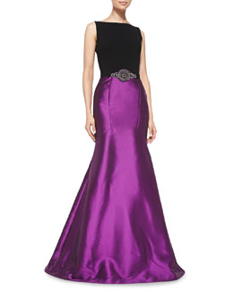 Theia Sleeveless Beaded-Waist Mermaid Gown