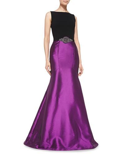 Theia Sleeveless Beaded-Waist Mermaid Gown