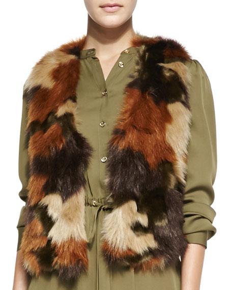 Camo-Print Short Faux-Fur Vest