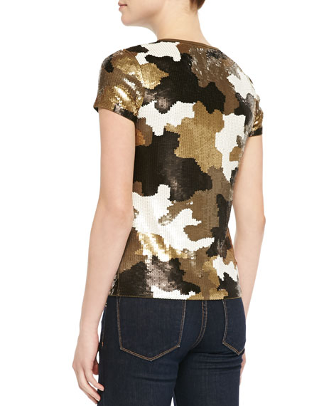 Camouflage-Pattern Sequined Top