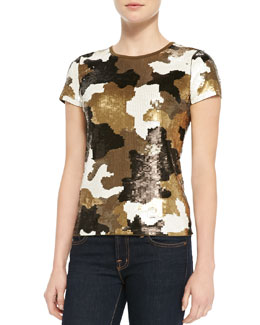 MICHAEL Michael Kors Camouflage-Pattern Sequined Top