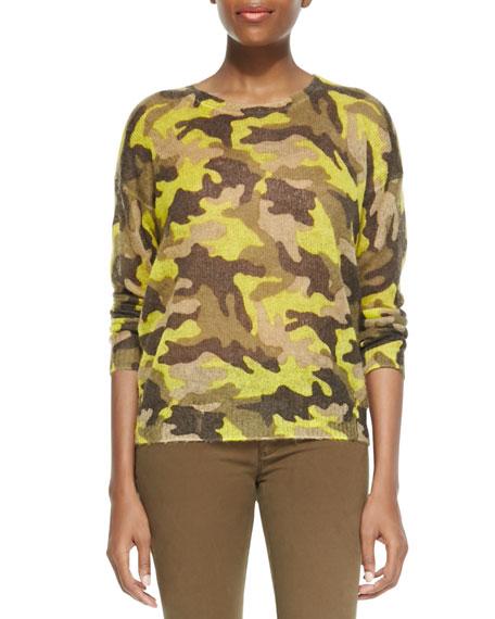 Camo-Print Knit Sweater