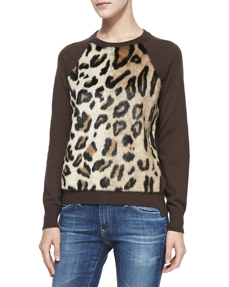 Faux-Fur-Front Knit Sweater