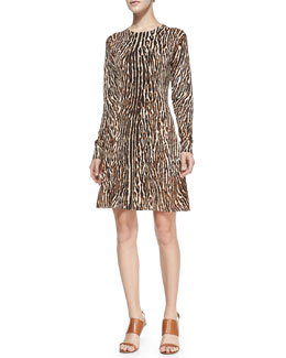 MICHAEL Michael Kors Flared Leopard-Print Dress