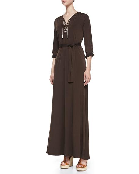 Lace-Up-Front Maxi Dress, Women's