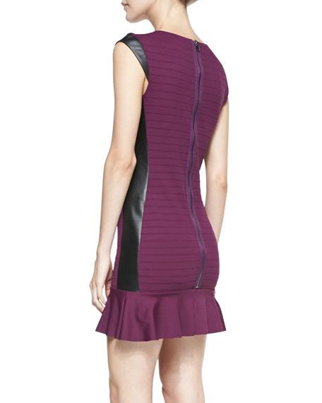 Leather-Trim Cap-Sleeve Ruffle-Hem Dress