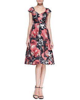 Tracy Reese Cap-Sleeve Flared Floral-Print Dress