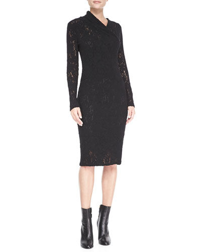 Tracy Reese Long-Sleeve Pulled-Neck Lace Sheath Dress