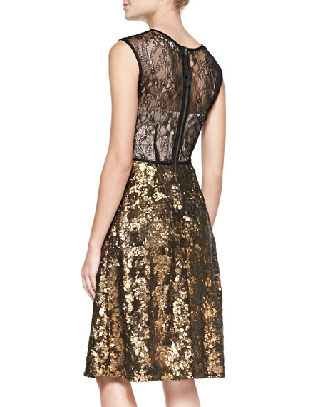Sleeveless Sequined Lace-Back Cocktail Dress