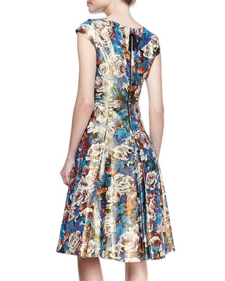 Cap-Sleeve Floral Metallic Dress