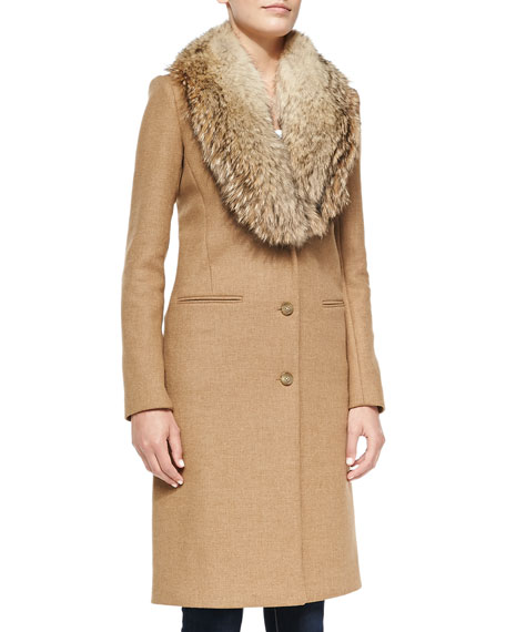 Fur-Collar Tailored Coat