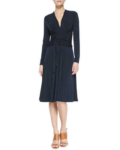 MICHAEL Michael Kors  Long-Sleeve Faux-Wrap Jersey Dress