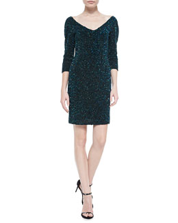 Theia 3/4-Sleeve Beaded Cocktail Dress