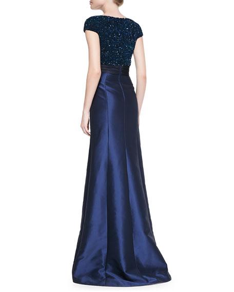 Cap-Sleeve Beaded-Bodice Gown