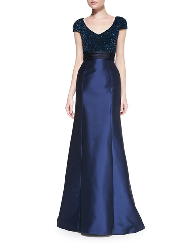 Theia Cap-Sleeve Beaded-Bodice Gown