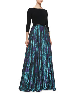 Theia 3/4-Sleeve Floral-Print Skirt Gown